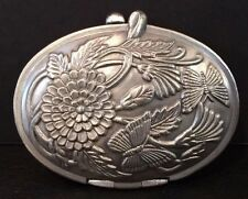 NIB Pewter Oval Compact Mirror & Photo Frame Butterflies & Flowers NOS #PJ323