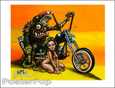 "BigToe Motorcycle Planet of the Apes Girl Signed 8.5x11"" rr Print Pinup Bike"