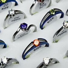 Wholesale Jewelry 10pcs Cubic Zircon 316L Stainless steel Mix Fashion Rings New