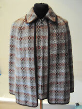 Vintage 2 piece Welsh Wool Cape  & Waistcoat - Autumn Colors - sized L~ 16 - 18
