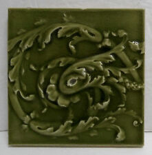 Antique Victorian Tile Leaf Motif