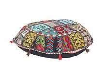 "Antique Patchwork Bohemian Pouf Embroidered Footstool 22x6"" Decorative Ottoman"