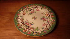 """FANTASTIC ANTIQUE ENGLISH PORCELAIN 8"""" PLATE - EMERALD GREEN HAND-PAINTED FLORAL"""