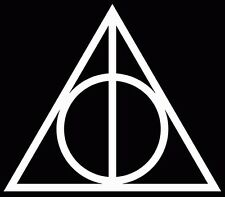 Harry Potter Vinyl Car Window Decal Deathly Hallows Symbol Sticker White