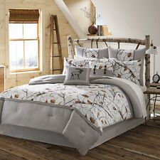 QUEEN 4pc WHITE CAMO BEDDING SET Grey Nature Print Rustic Country Snow Trees NEW