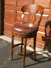 """Frontgate Wood Leather Kitchen Dining BAR 30"""" Height Barstool Counter Chair"""