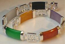 9mm Mixed Jade Jadeite Sterling Silver Good Luck Symbols Link Bracelet 7 3/8""