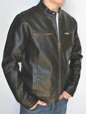New Mens GUESS Brown Motorcycle Style Insulated Faux Leather Jacket Small