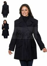 Womens Plus Size 24 Short Black Wool Coat