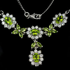 Silver 925 Genuine Natural Apple Green Peridot Cluster Necklace & Drop 18 Inch