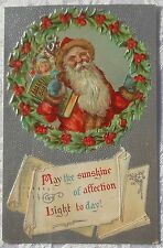vintage CHRISTMAS SANTA with  Gifts TOYs for the CHILDREN Wreath 1909  CC1