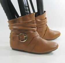TAN FLAT   round toe  SEXY COMFORTABLE ankle boot  side gold buckle  size  6.5