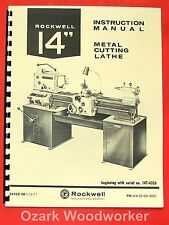 "ROCKWELL 14"" Cabinet Metal Lathe Op/Parts Manual 0596"
