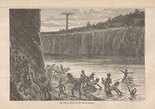 A2525 Sulle rive del Bahr-el-Salaam - Animata - Xilografia del 1895 - Engraving