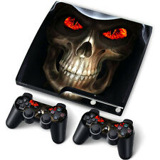PS3 PlayStation 3 Slim Skin Stickers PVC for Console + 2 Pads *Skull RE*