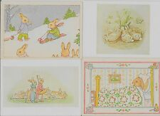 Group of 4 bunnies some dressed sledding sick in bed sleeping modern pc (Z9315)