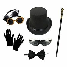Mens Steampunk Costume Set (Top Hat, Goggles, Gloves, Cane, Bow Tie, Moustache)