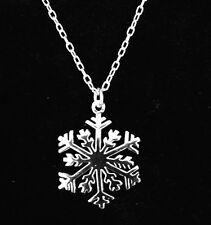 """New SNOWFLAKE NECKLACE Solid .925 Sterling Silver Snowflake Pendant Necklace 18"""""""