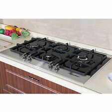 "Fashion 35"" Black Tempered Glass Built-in Kitchen 4 Burner Gas Top Hob Cooktops"