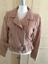 Brand New Marks And Spencer Limited Collection Light Brown Suede Jacket Size 12
