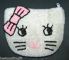 HANDBEADED LOOK LIKE HELLO KITTY WHITE+PINK SHAPE ZIP COIN PURSE, WALLET,POUCH