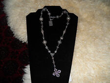 Very nice sterling 925 Bali beads Indonesia cross pendant toggle necklace signed