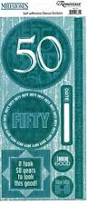 REM FC - 50th Birthday Scrapbooking Stickers 4.5x10.5 sheet size 50 years old