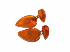Baltic AMBER CUFFLINKS w/ Brass Chains, Cabochon, Vintage 1940s