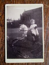 SMALL CHILD RIDING AMAZING ROCKING HORSE IN GARDEN - VICTORIAN CABINET PHOTO