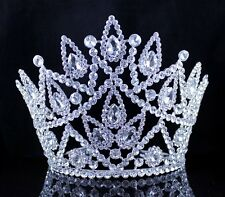 BEAUTY QUEEN CRYSTAL RHINESTONE TIARA CROWN HAIR COMBS PAGEANT HUGE T2177 SILVER