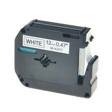 1x Schriftband für Brother P-touch Schwarz auf Weiß MK231 M-K231 12mm PT-90 55BM