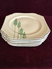"8 Leigh Ware Green Wheat Salad Plates 7.25"" Art Deco 1920s Gale Turnbull Antique"