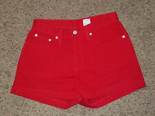 Jordache High Waist True Red Denim Colored Jean Stretch Short Shorts Size 9/10