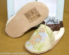 NIB ROBEEZ SOFT SOLES Infant Baby Boys 0-6 Months Safari Hippo Cream Booties