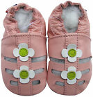 carozoo sandals pink white flower 6-12m soft sole leather baby shoes