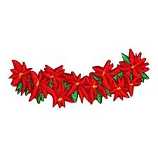 ID 8191B Poinsettia Christmas Flower Garland Embroidered Iron On Applique Patch