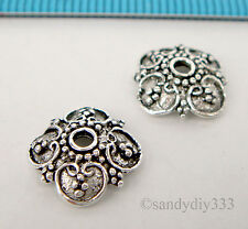 2x OXIDIZED STERLING SILVER SQUARE FLOWER BEAD CAP 9.8mm #2208