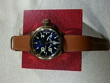 MEN'S INVICTA BLUE RUSSIAN DIVER WATCH 52MM & BROWN LEATHER BANDS SWISS MOVEMENT