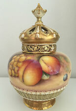Royal Worcester Hand Painted Fruit Pot Pourri Signed Telford