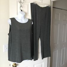 Chicos 2-pc Travelers Fatigue (Olive) Cross Dye Tank Top & Pants 2 = 12 / 14 NWT
