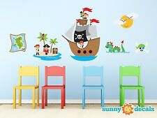 Pirates Fabric Wall Decal with Captain Jack, Ship, Treasure Map, Sun, Kraken