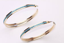 GLAMOROUS SPARKLING GLITTERY TURQUOISE GOLD TONE LARGE HOOP EARRINGS (CL23)