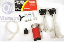 Motorcycle air compressor twin Chrome bull horn kit set , loud and different