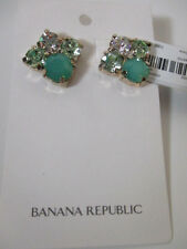 Banana Republic Green Stone Cyrstal Custler Stud Earrings NWT $59.50