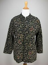 sz 3 L XL CHICO'S Jacket Black Tan Quilted Floral Lined Sequin Embroidered