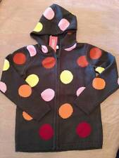 NWT Gymboree Purrfect Autumn Long Polka Dot Hooded Cotton Sweater Coat Sz M 7-8