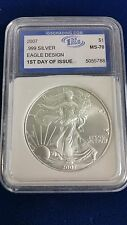 2007 $1 American Silver Eagle  1st Day of Issue Coin