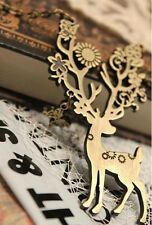 Hot Charm Retro Bronze Plated Cute Sika Deer Pendant Vintage Long Chain Necklace