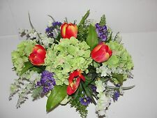 Spring Silk Flower Arrangement Hydrangea Tulips Wisteria Wicker Basket Succulent