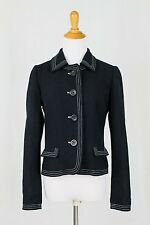 GAP Wool Jacket Coat Navy Blue with White Contrast Stitch With Plaid Lining S